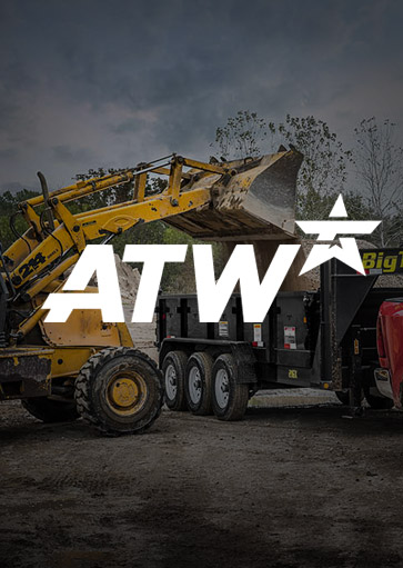 ATW Internet Site with logo over construction equipment